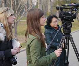 Journalism students learning to do TV interviews.