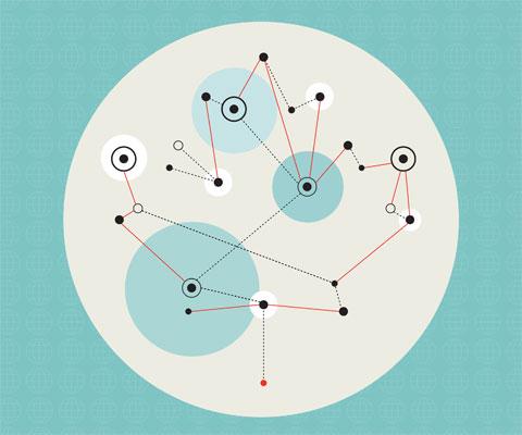 Illustration de liens entre cercles.