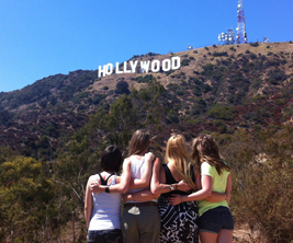 Ryerson students looking up at Hollywood sign in L.A.