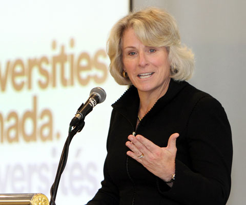 Elizabeth Cannon, president of the University of Calgary, giving her inaugural speech at Universities Canada membership meeting.