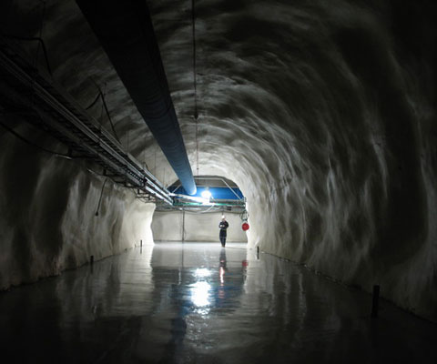 View of a underground tunnel at the SNOlab.