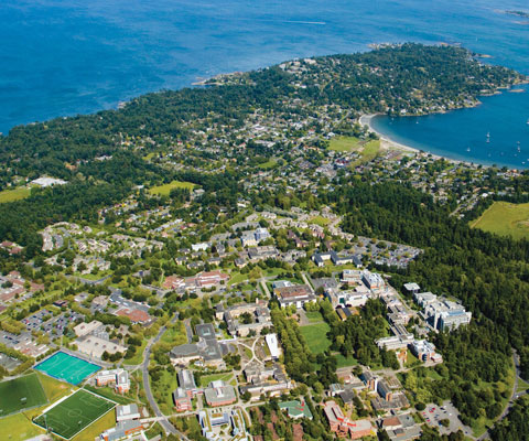 Arial shot of the University of Victoria campus.
