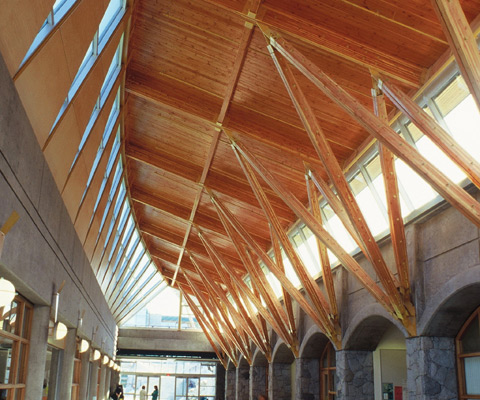 View of high wooden ceiling in the form of a canoe at UNBC campus.