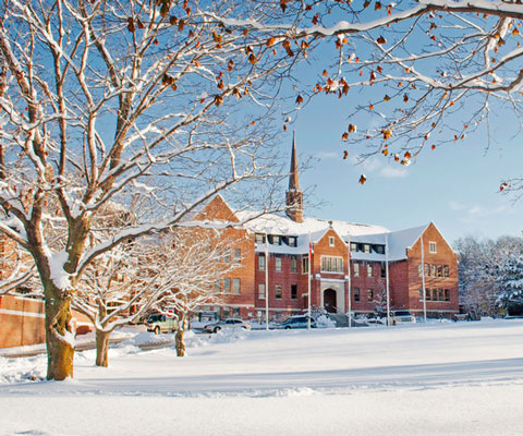 Shingwauk Hall in the winter