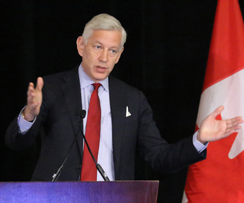 Dominic Barton, Global managing partner, McKinsey & Company, giving a speech at Converge 2017.