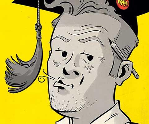 Une bande dessinée représentant un étudiant universitaire sifflotant, un mortier sur la tête et un crayon sur l'oreille.