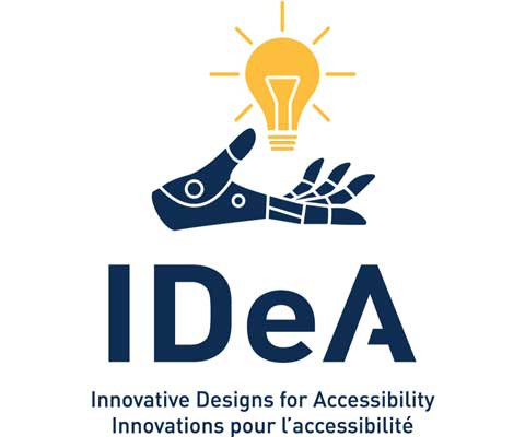 Illustration of an open hand holding a light bulb. Innovative Designs for Accessibility. Innovations pour l'accessibilité.