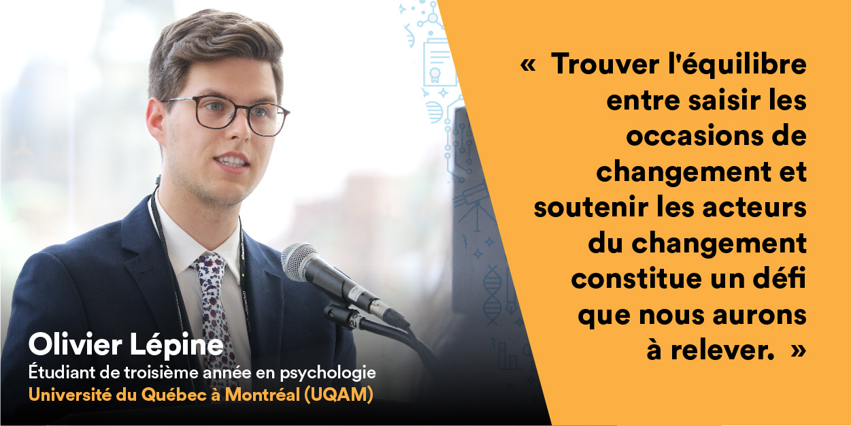 L'étudiant Olivier Lépine prend la parole au forum Univation.