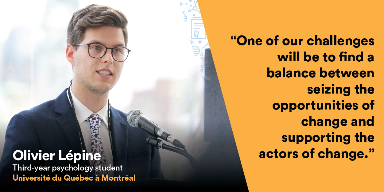 Olivier Lépine, student at UQAM, gives a speech at the Univation event.