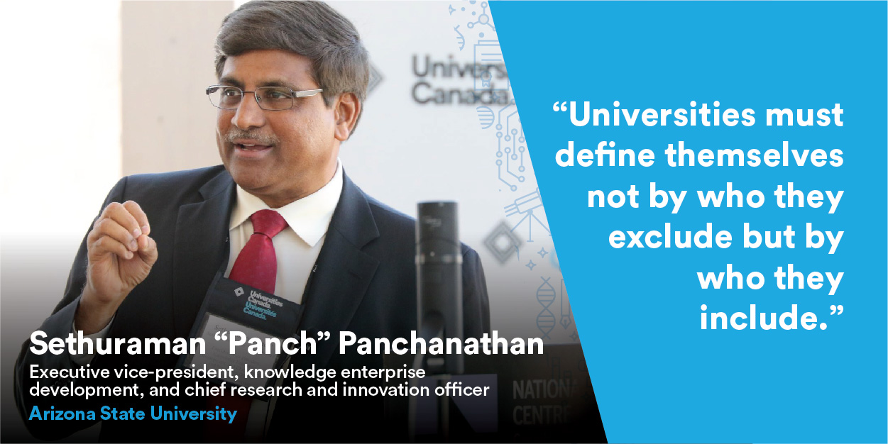 Sethuraman « Panch » Panchanathan speaking at Univation event.