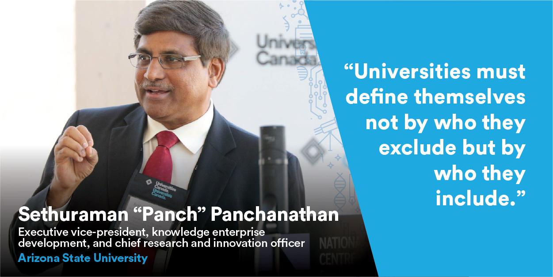 Sethuraman « Panch » Panchanathan speaking at Univation event.