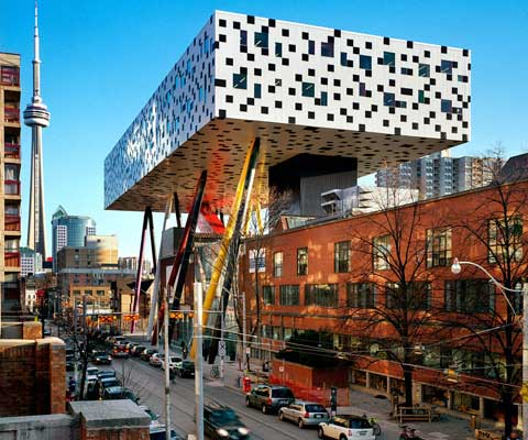 Iconic, modern building on OCAD University campus.