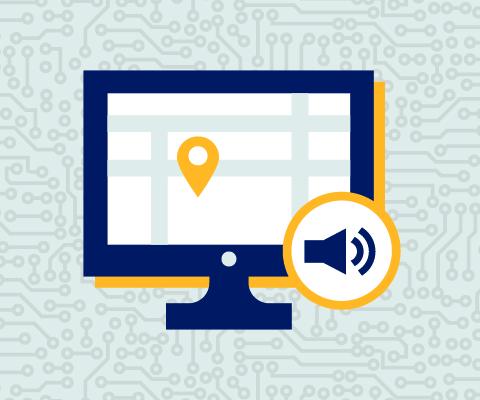 Illustration d'un ordinateur sur l'écran duquel est affichée une carte.