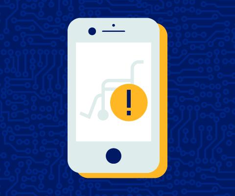 Illustration d'un téléphone intelligent sur l'écran duquel sont affichés un symbole d'alerte et un fauteuil roulant.