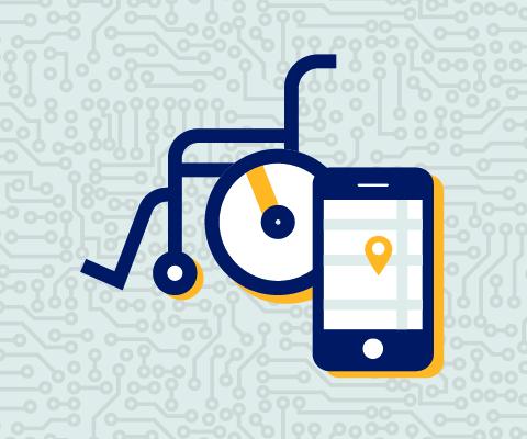 Illustration d'un fauteuil roulant et d'un téléphone intelligent sur l'écran duquel est affichée une carte numérique.