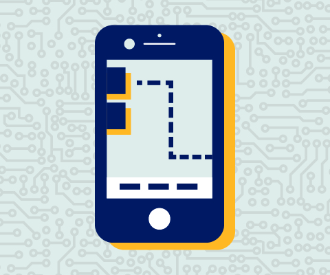 Illustration d'un téléphone intelligent sur l'écran duquel est affichée une carte.