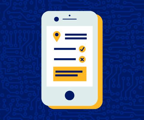 Illustration d'un téléphone intelligent sur l'écran duquel est affichée une liste.