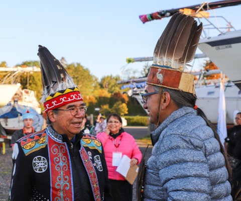 Chief Stephen Augustine and Chief Dean Sayers of Batchewana First Nation at the Building Reconciliation Forum opening ceremonies, Tuesday, October 8, 2019.