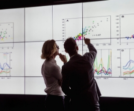 Two researchers stand in front of a screen analyzing a data set displayed on a plot graph.