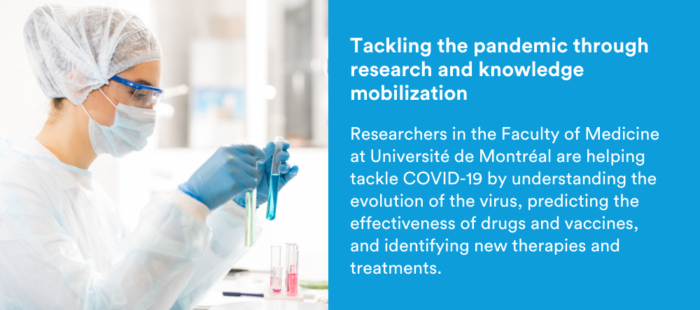 Text on image: Tackling the pandemic through research and knowledge mobilization: Researchers in the Faculty of Medicine at Université de Montréal are helping tackle COVID-19 by understanding the evolution of the virus, predicting the effectiveness of drugs and vaccines, and identifying new therapies and treatments.
