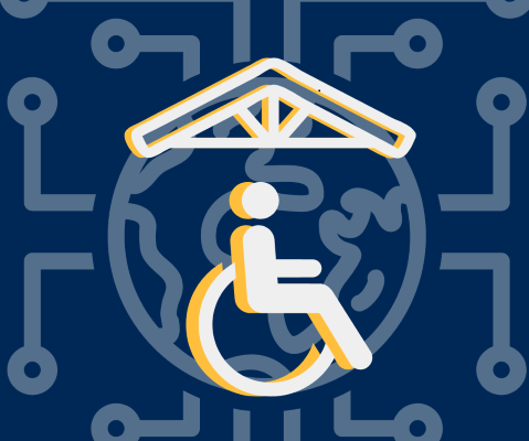 Wheelchair icon with shelter