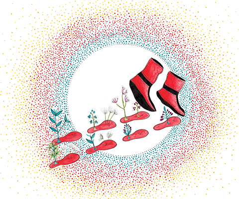 Artwork of red moccasins making footprints, from which plants are sprouting.